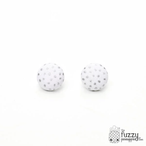 Falling Stars M Fabric Button Earrings