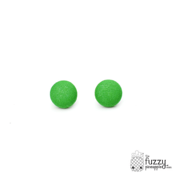 Solid Grass Green M Fabric Button Earrings by The Fuzzy Pineapple