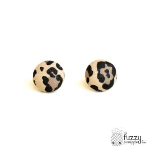 Lovely Leopard in Beige M Fabric Button Earrings