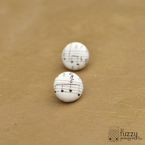 Music to My Ears M Fabric Button Earrings