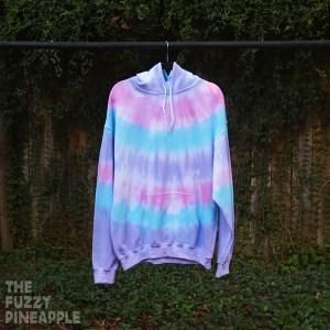 L Striped Pastel Rainbow Hoodie in Pink, Blue, Purple RTS