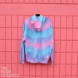 XL Striped Pastel Rainbow Hoodie in Pink, Blue, Purple RTS