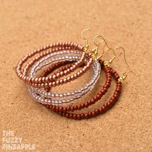 Brown Beaded Hoop Earring Collection