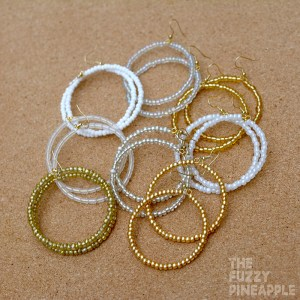 White Beaded Hoop Earring Collection