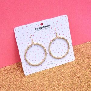 White Gold Seed Bead Hoop Earrings
