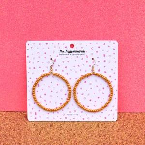 Honey Gold Seed Bead Hoop Earrings