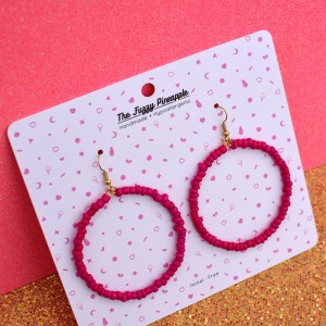 Magenta Seed Bead Hoop Earrings
