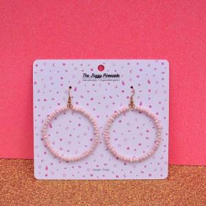 Strawberry Milk Seed Bead Hoop Earrings
