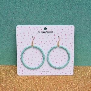 Chunky Mint Seed Bead Hoop Earrings
