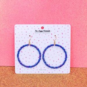 Iridescent Galaxy Periwinkle Seed Bead Hoop Earrings