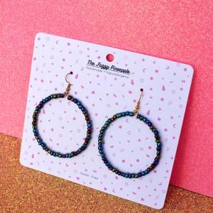 Iridescent Midnight Jewel Seed Bead Hoop Earrings