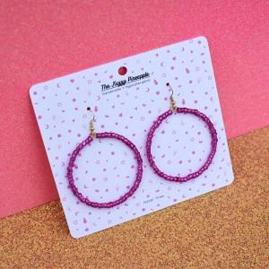Clear Dark Pink Seed Bead Hoop Earrings