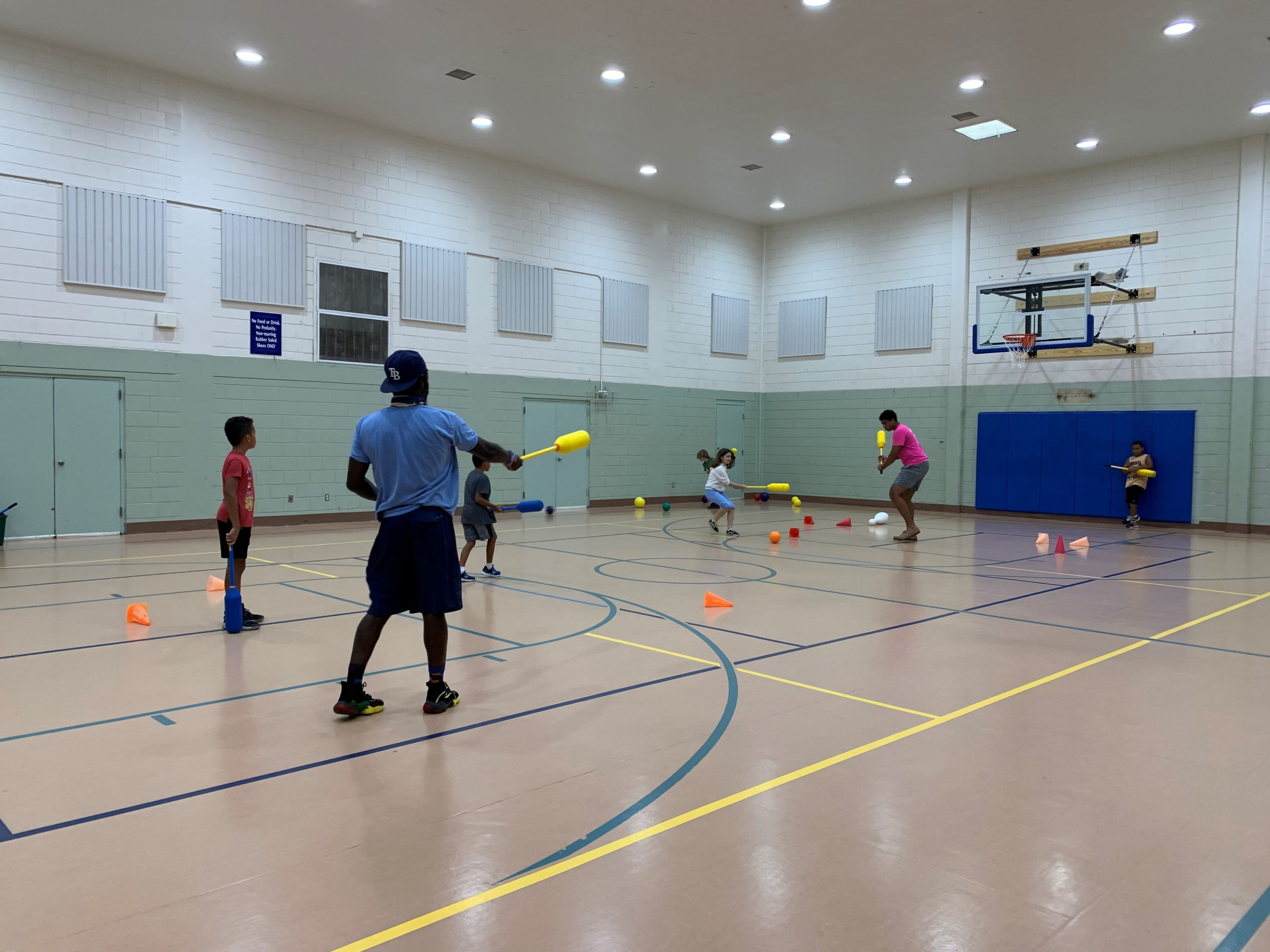 Kids play games indoor Gulfport Florida Rec center