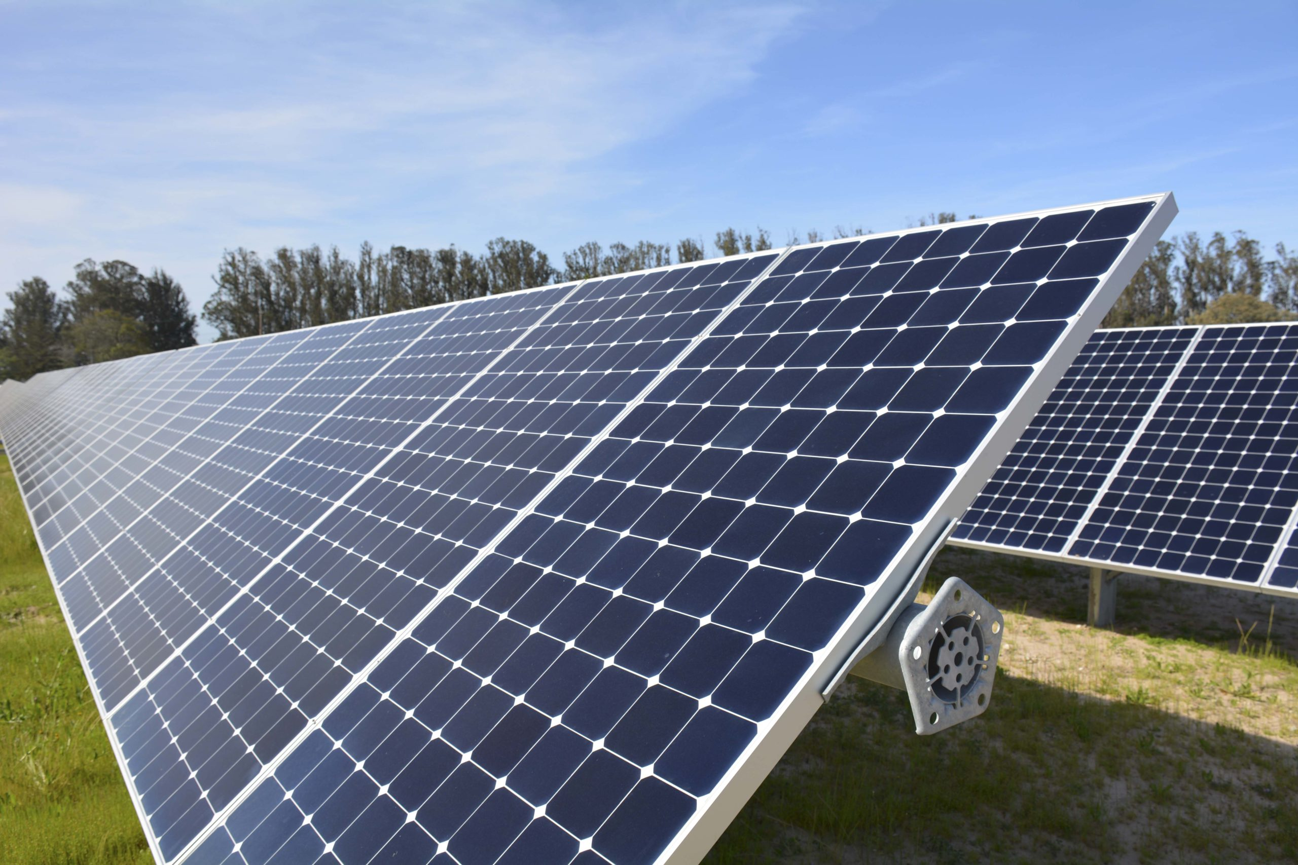 Array of solar panels with blue sky background.