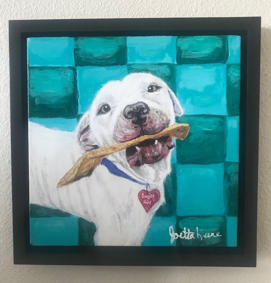 Painting of a white dog with a bone