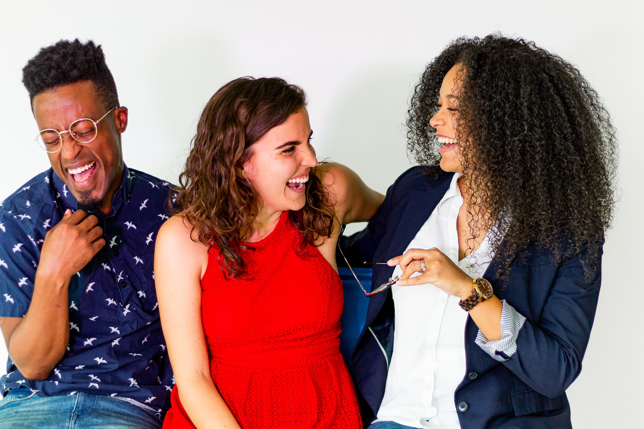 American Stage Adult Education Associate and ASI Study Hall moderator Patrick A. Jackson, far left, with Community Engagement Coordinator Sadie Lockhart and Renata Eastlick, right, laughing together