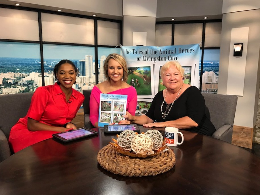 Author Linda Davis on Great Day Live Tampa Bay, with hosts Kendall Kirkham and Javante Ingram.