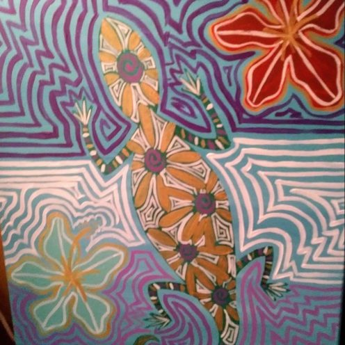 Abstract art featuring a gecko in multiple colors.