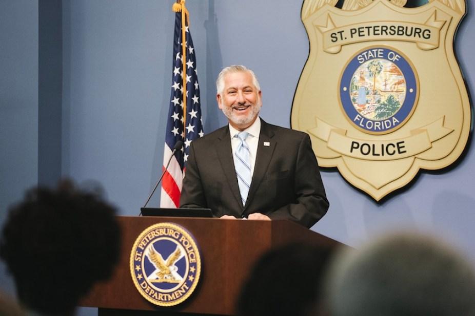 St. Petersburg Mayor Rick Kriseman stands at a podium