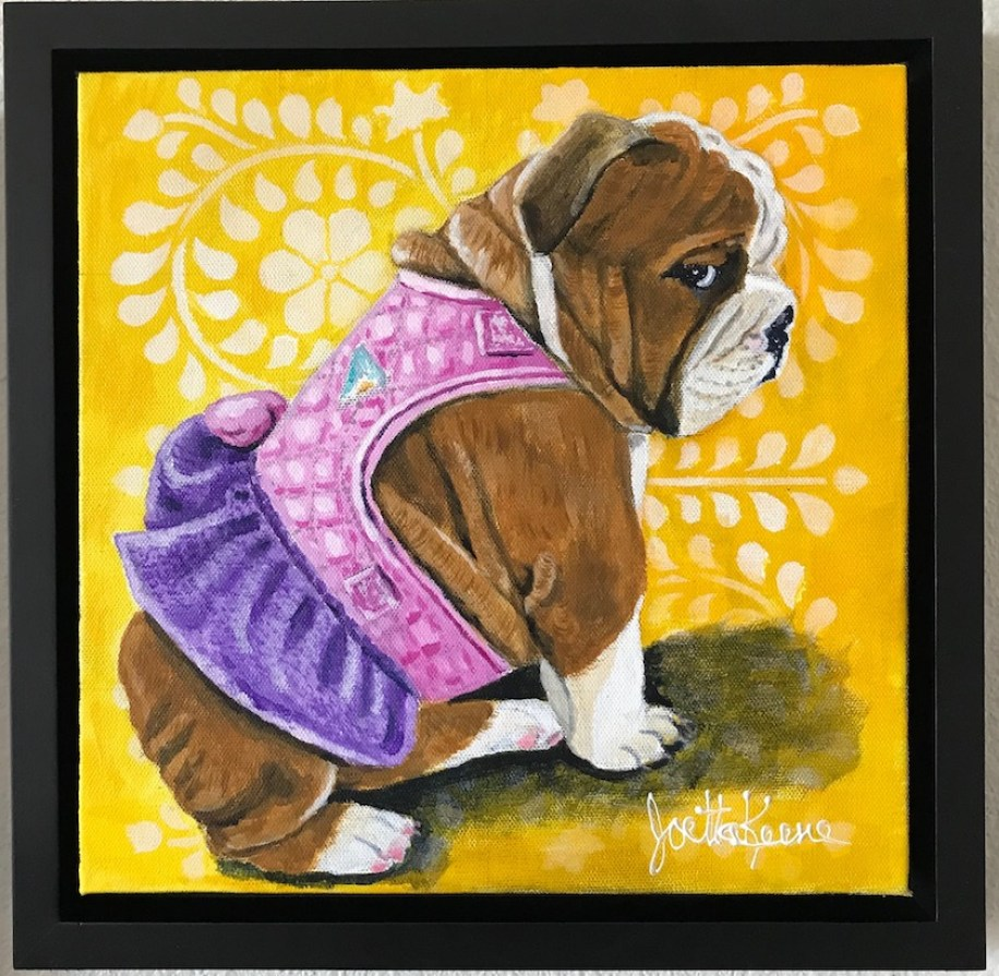 Portrait of an English bulldog in a pink and purple dress