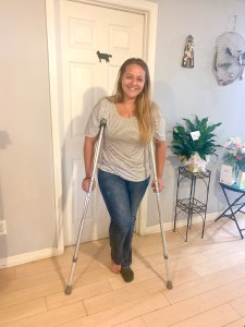 Vanessa Gray on crutches after her brush with a concrete slab.