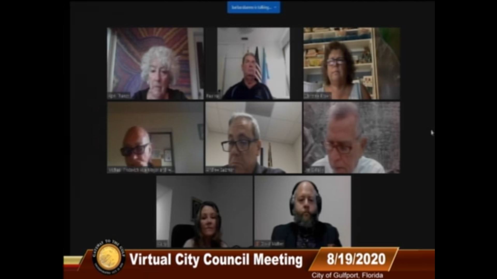 Screenshot of a Gulfport Florida City Council Meeting