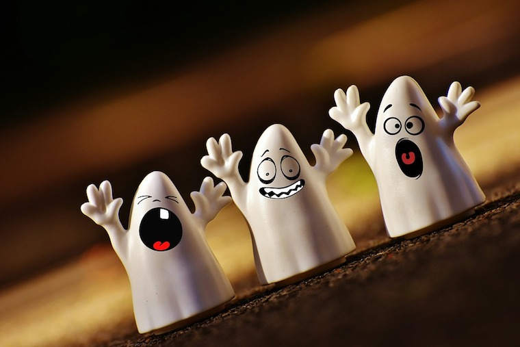 three animated ghosts