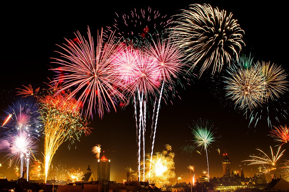 Fireworks exploding on New Years