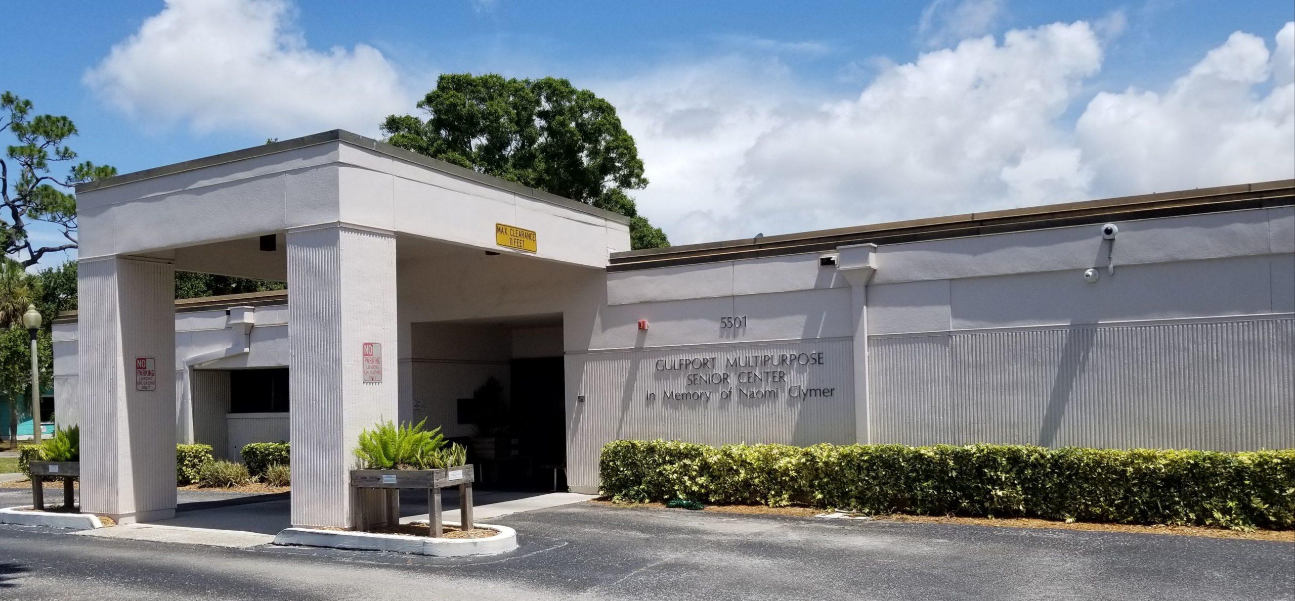Entrance to the Gulfport Multipurpose Senior Center in Florida.