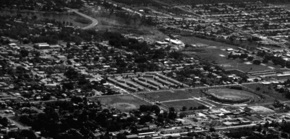 A black and white historic photo of an aerial image of Pinellas High.