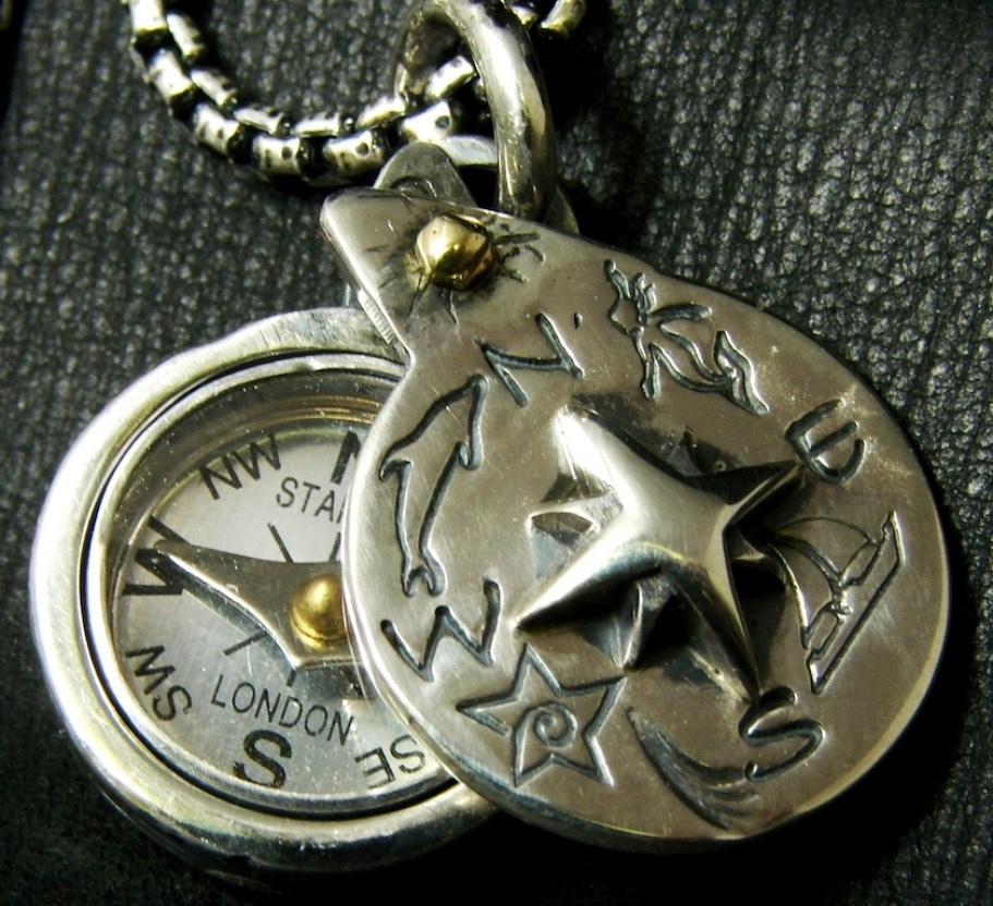 A jewelry compass on a chain.