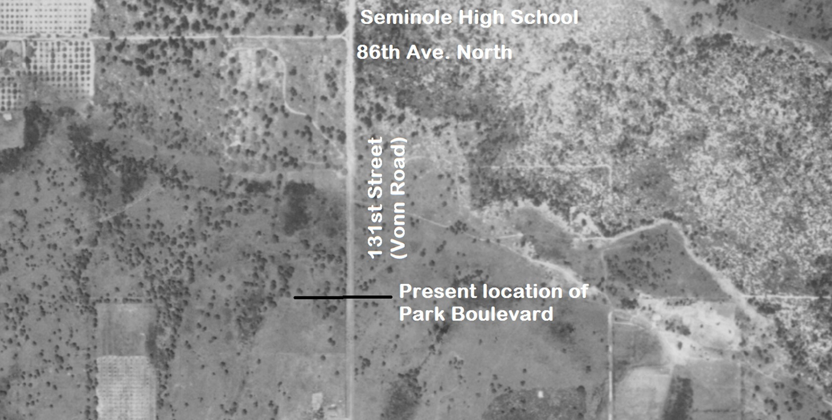 An aerial map of the Oakhurst Cemetery in Seminole Florida 1943