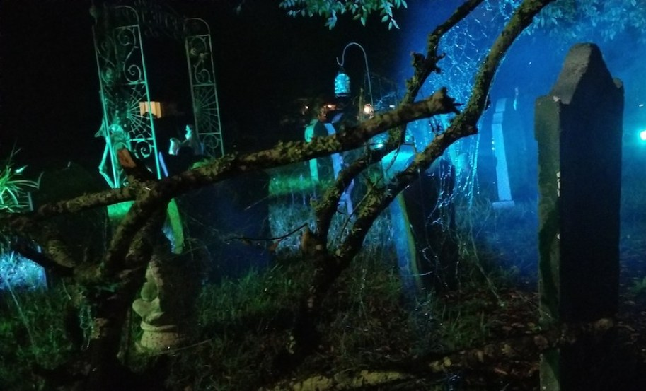 An eerie night shot of a fake cemetery with stray branches and spider web