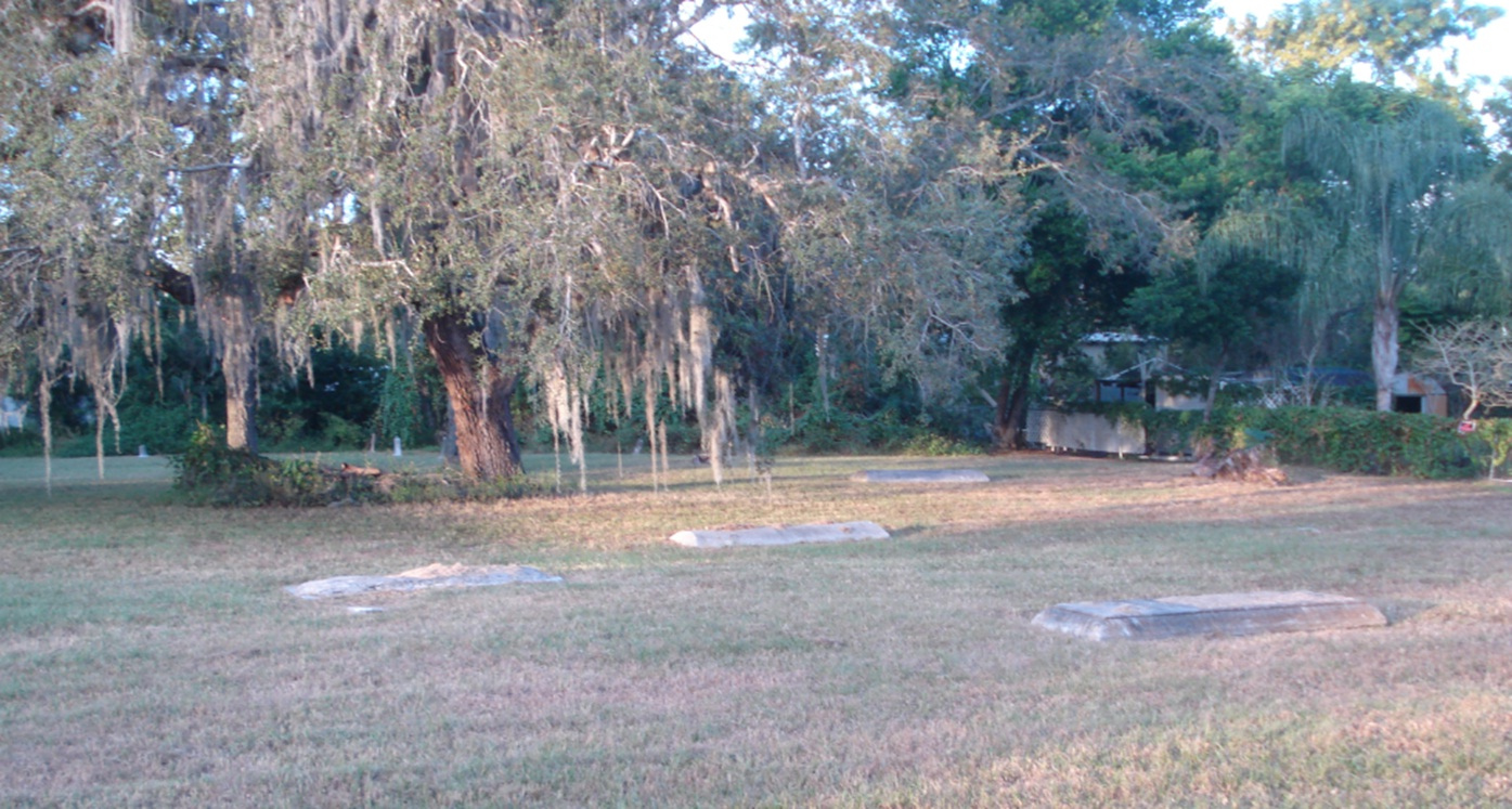 A neglected cemetery scene with trees