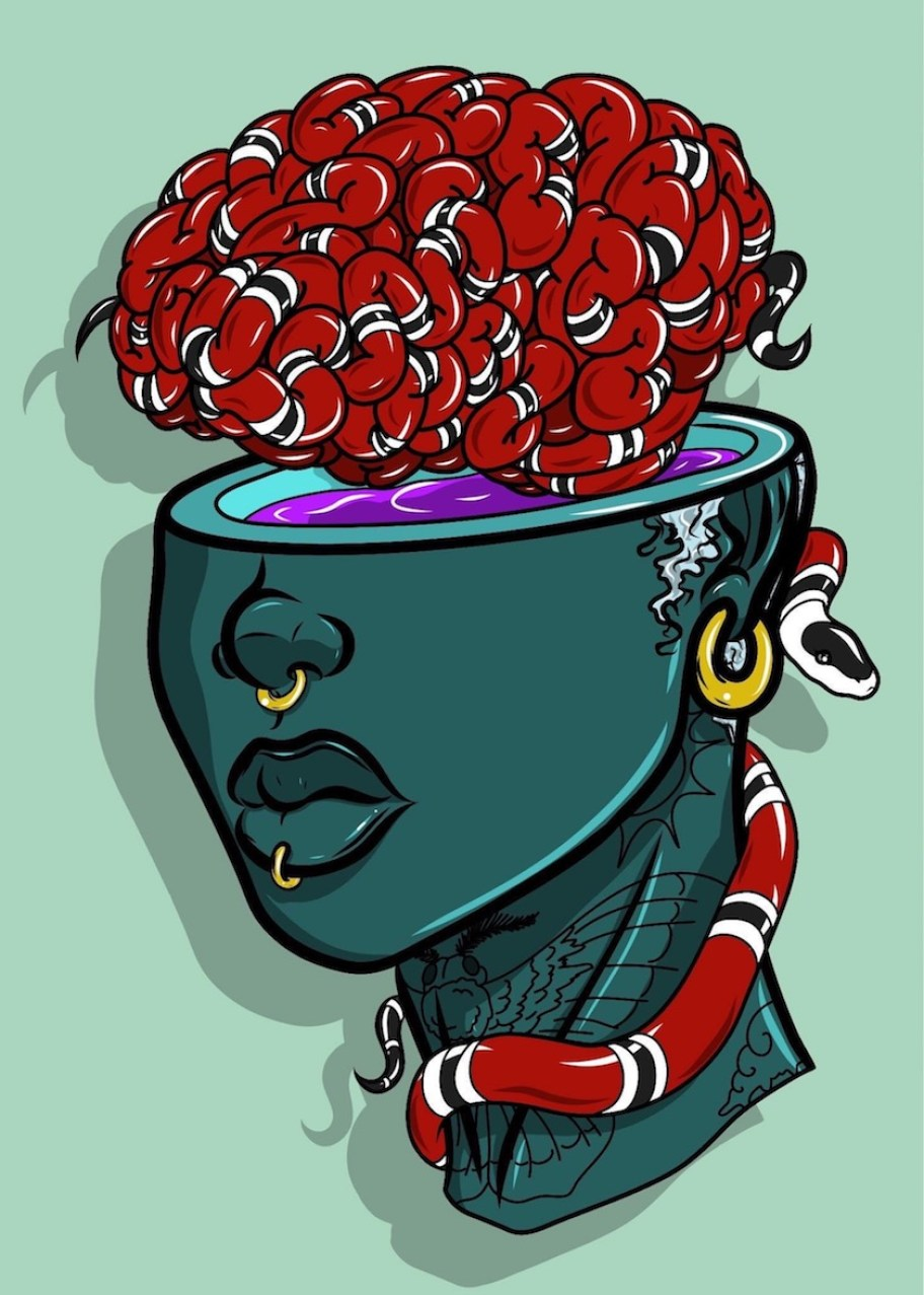 A painting of the lower half of a blue head with a red brain coming out of the top.