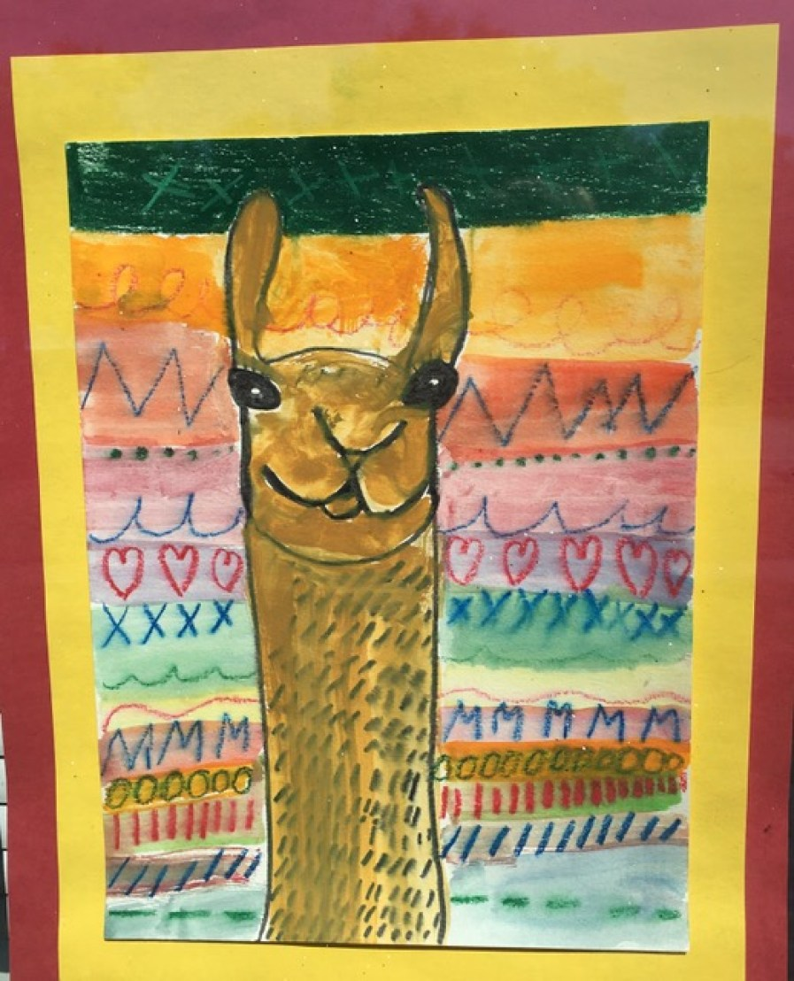 A child's drawing of a llama.