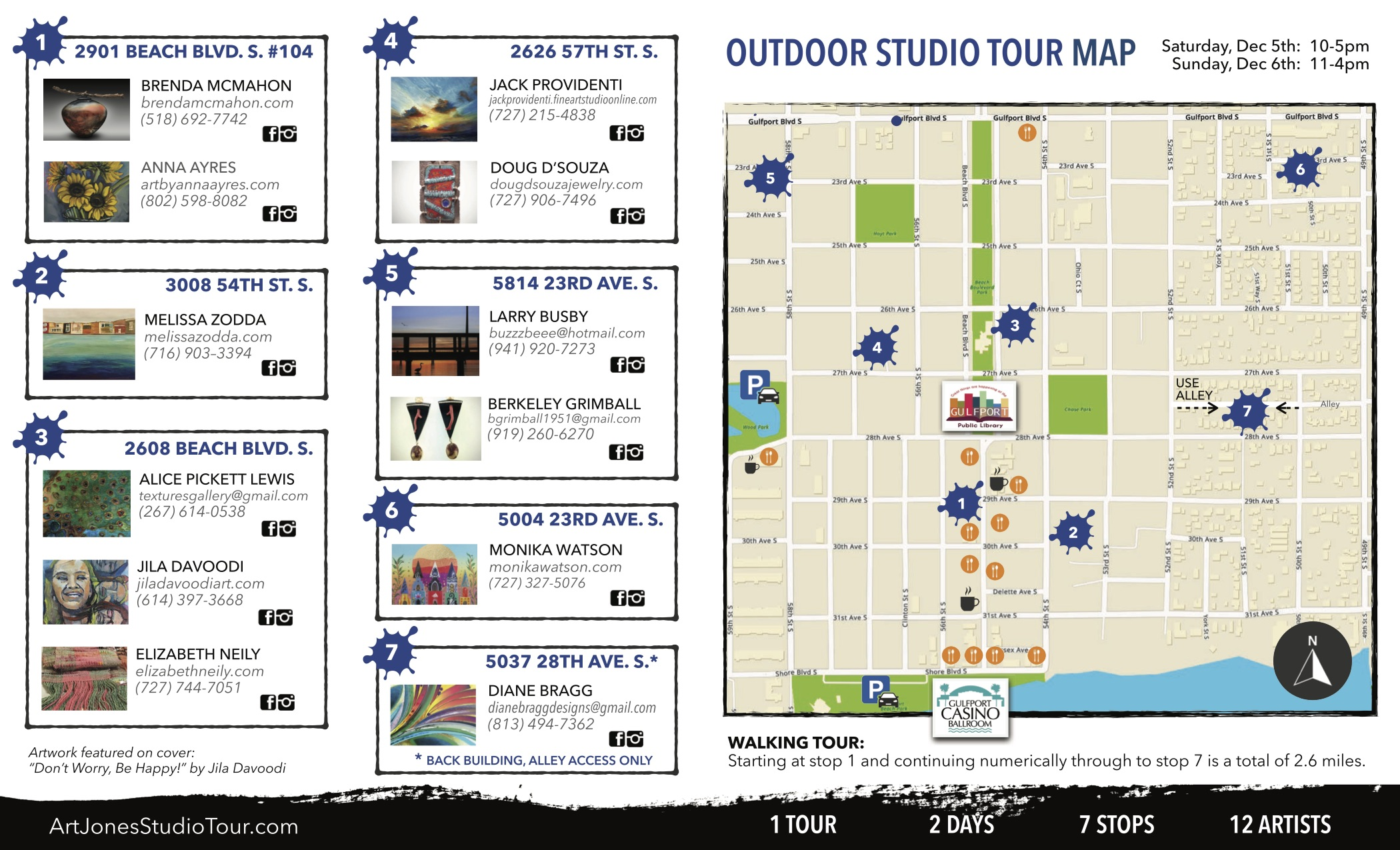 A map including all the locations for ArtJones art studio tour in Gulfport.