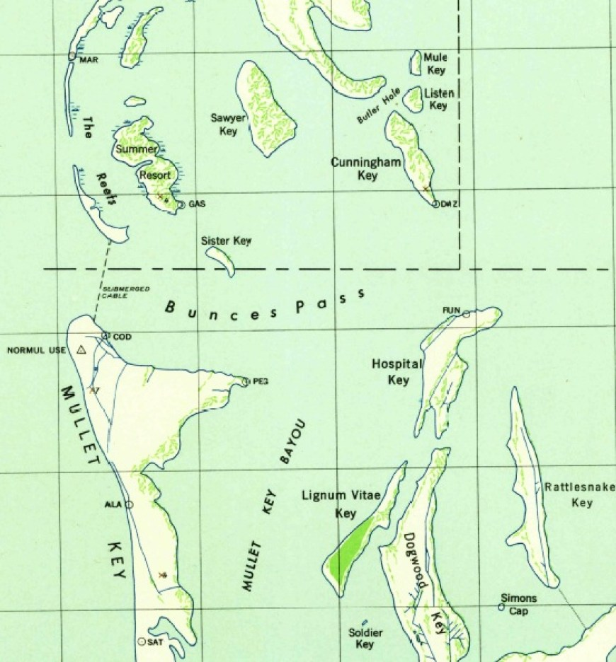 A map of the islands around Fort De Soto south of Pinellas County Florida