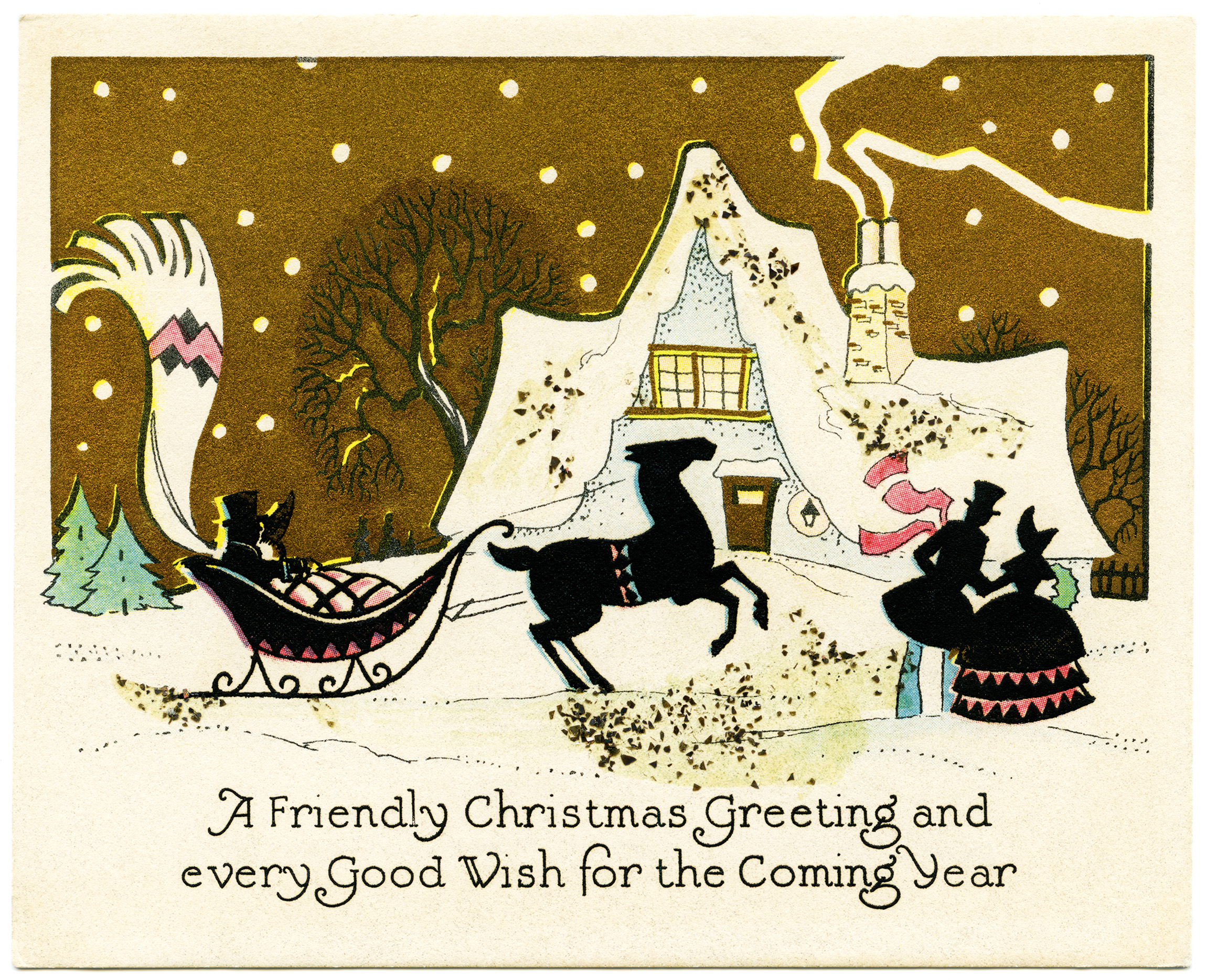 """An old fashioned Christmas card with a snowy scene, house and people around a sleigh with the words """"A Friendly Christmas Greeting and Every Good Wish for the Coming Year."""""""
