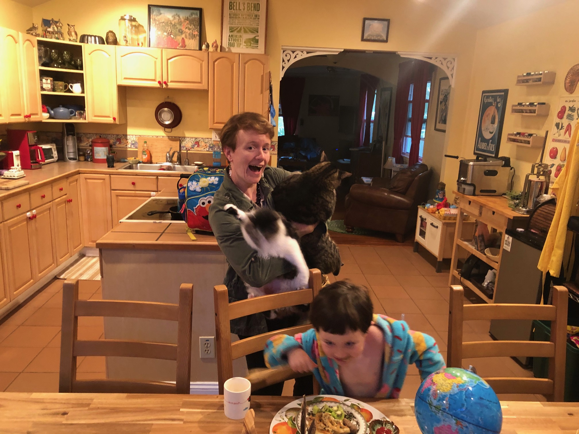 A woman holding two cats in a kitchen with a little boy at the table