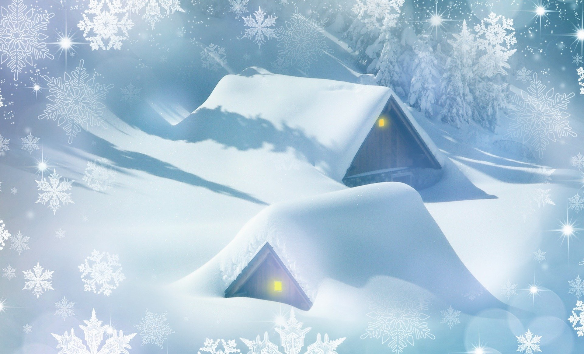 A drawing of houses buried in snow.