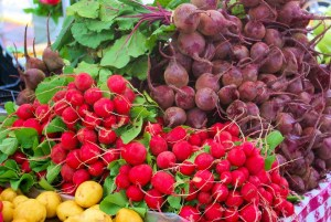 Colorful fruits and plants at a farmer's market