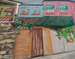 Colorful painting of apartments