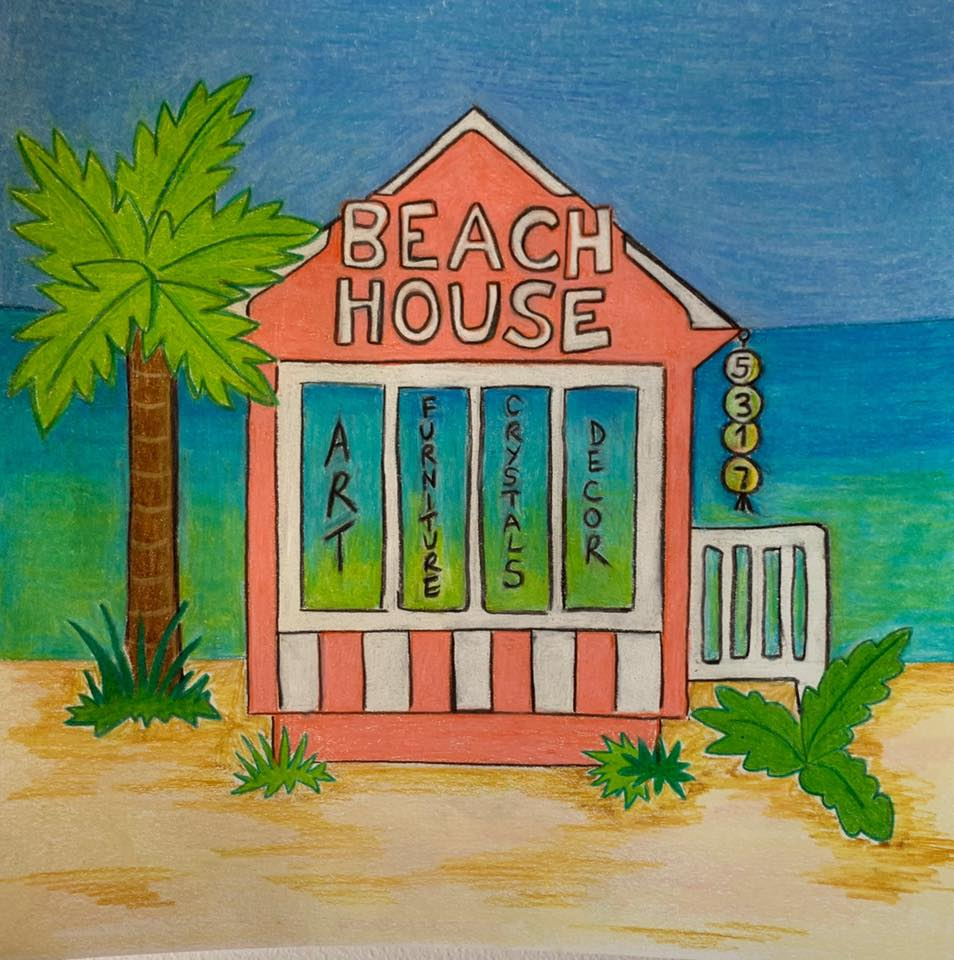 Drawing of a peach beach house with a palm tree