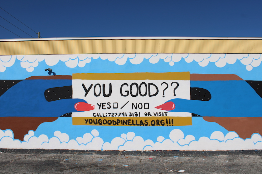 "A mural that reads ""You Good?? Yes / No"""