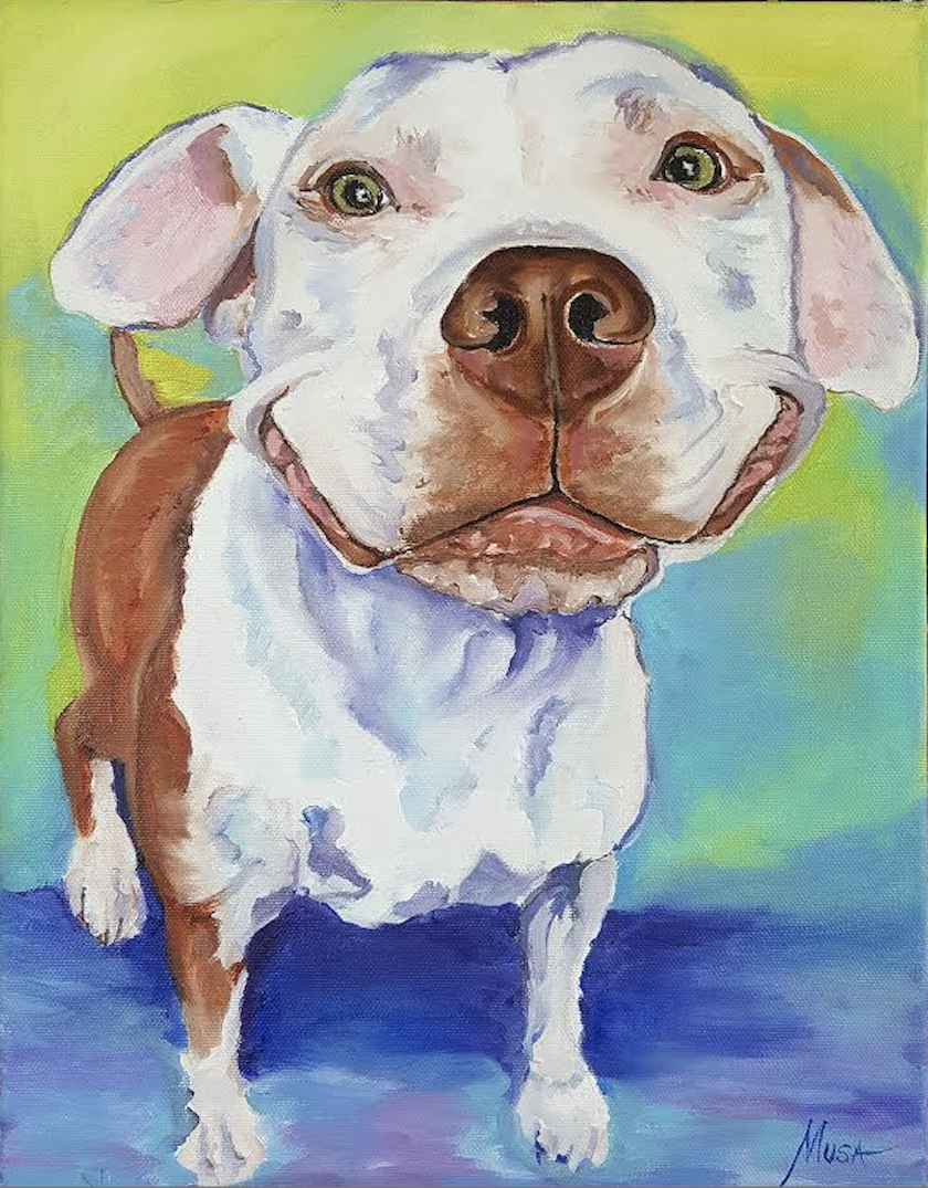 A painting of a brown and white dog smiling