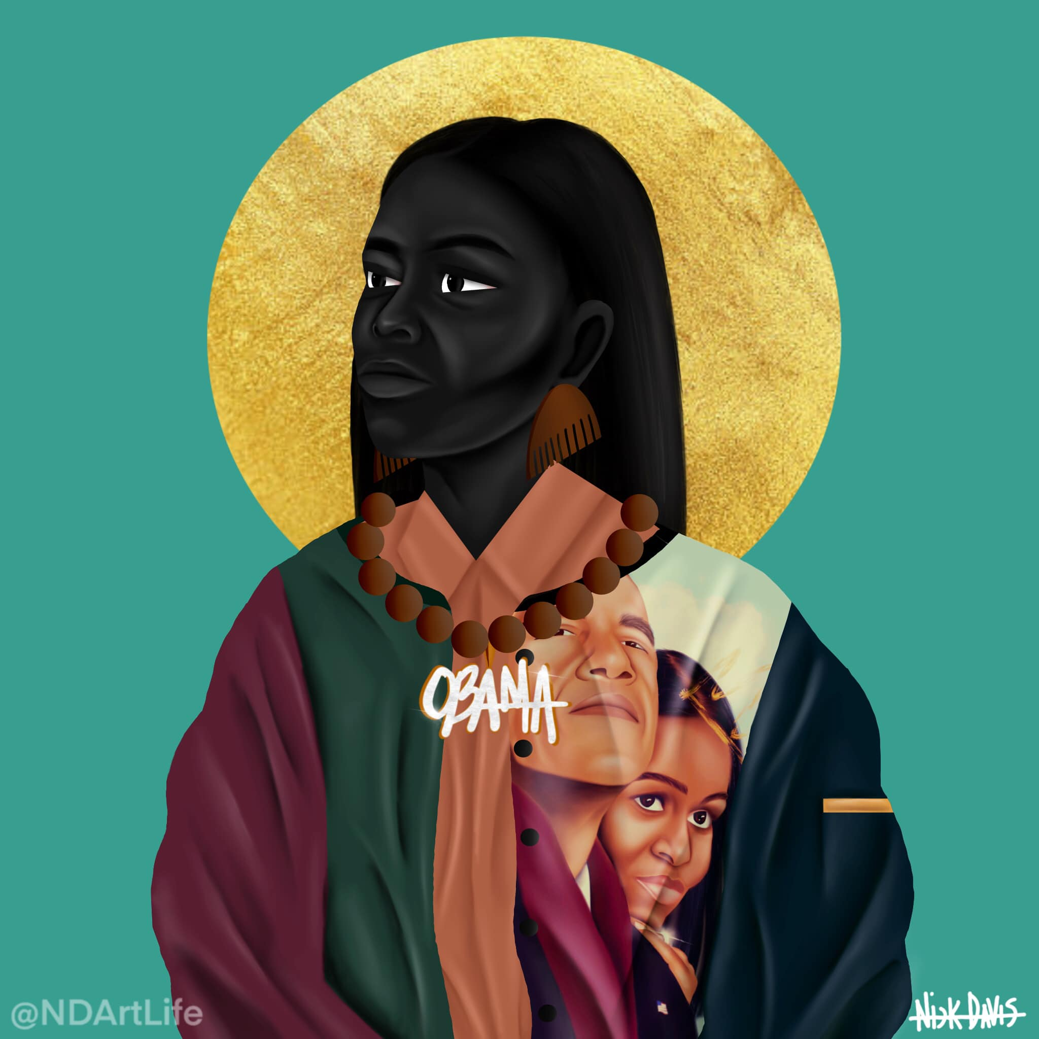 """An art piece of a figure in a cloak with a golden halo and the imaged on Barack and Michelle Obama in the cloak with the word """"Obama"""""""