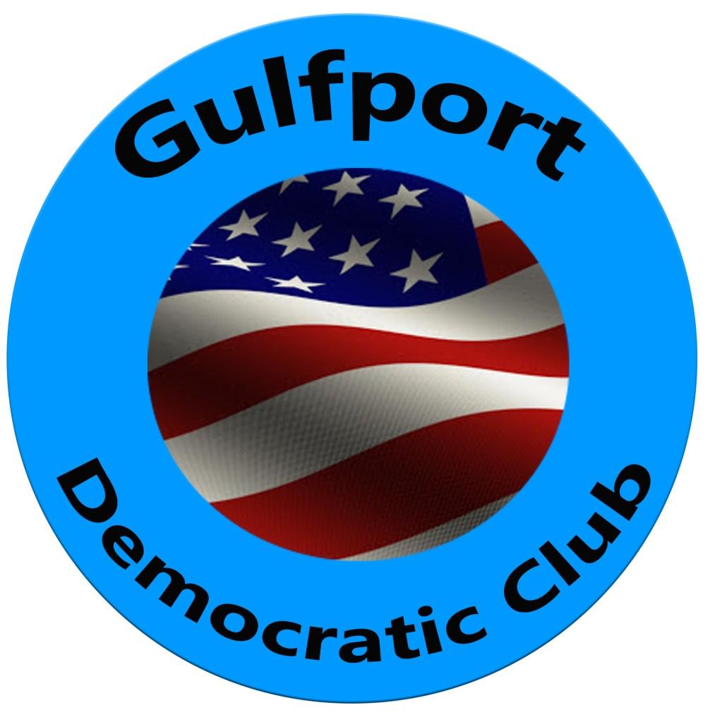 Blue circular seal that reads Gulfport Democratic Club