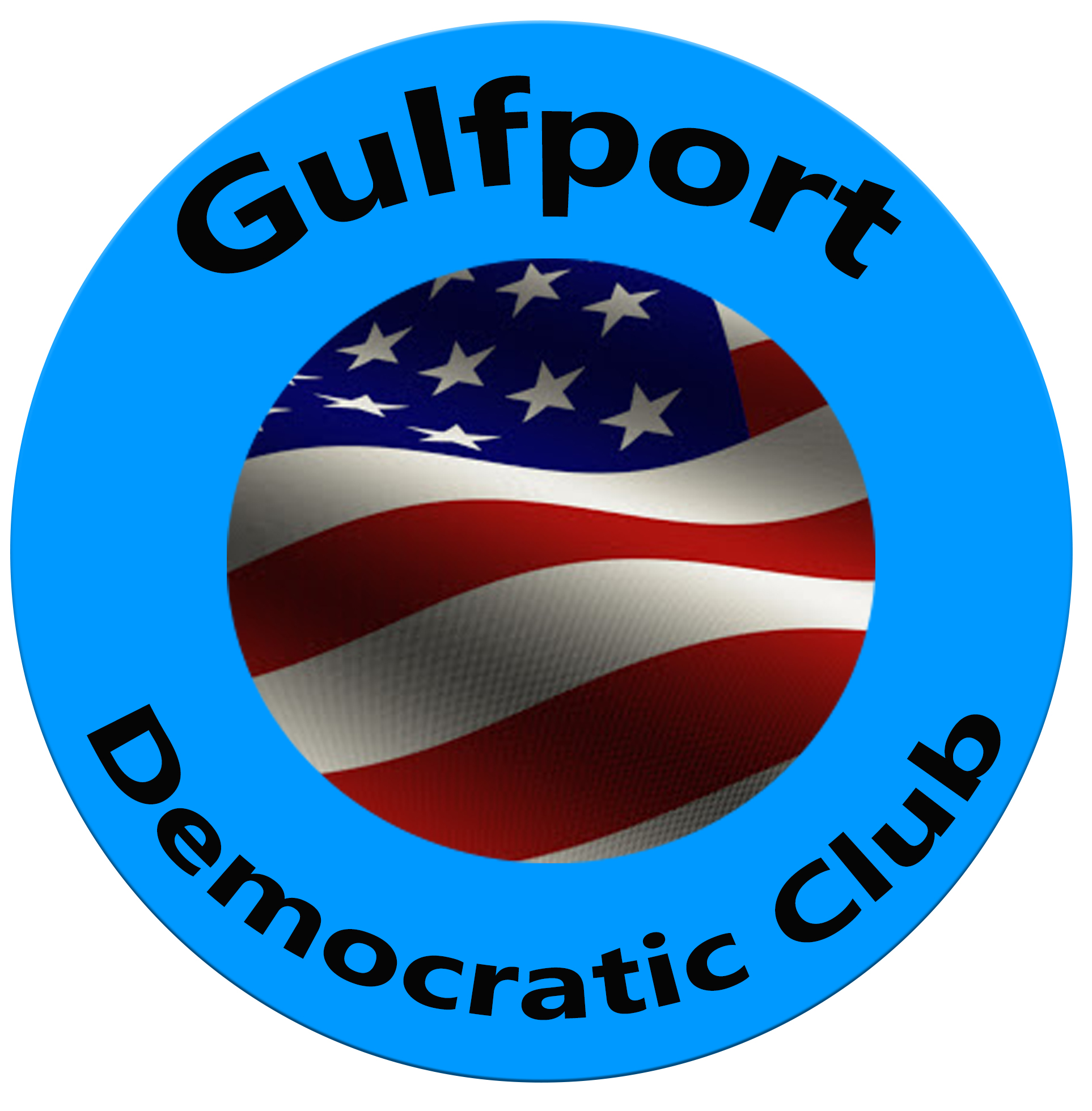 Blue circular seal that reads Gulfport Democratic Club