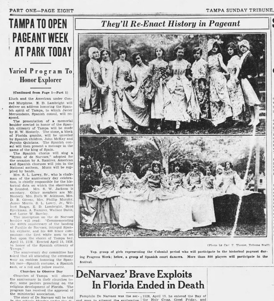 """A clipping from the Tampa Tribute newspaper from 1928 detailing the """"Pageant of Progress"""" honoring the 300th anniversary of the Narváez landing."""